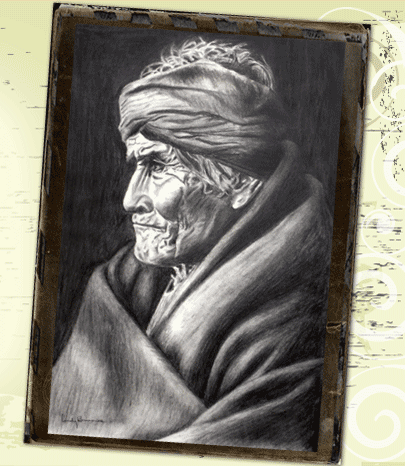Geronimo charcoal sketch
